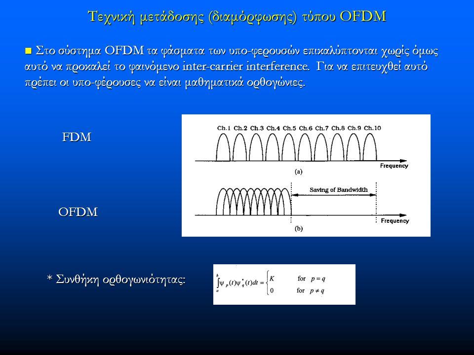 Τεχνική μετάδοσης (διαμόρφωσης) τύπου OFDM  Στο σύστημα OFDM τα φάσματα των υπο-φερουσών επικαλύπτονται χωρίς όμως αυτό να προκαλεί το φαινόμενο inter-carrier interference.