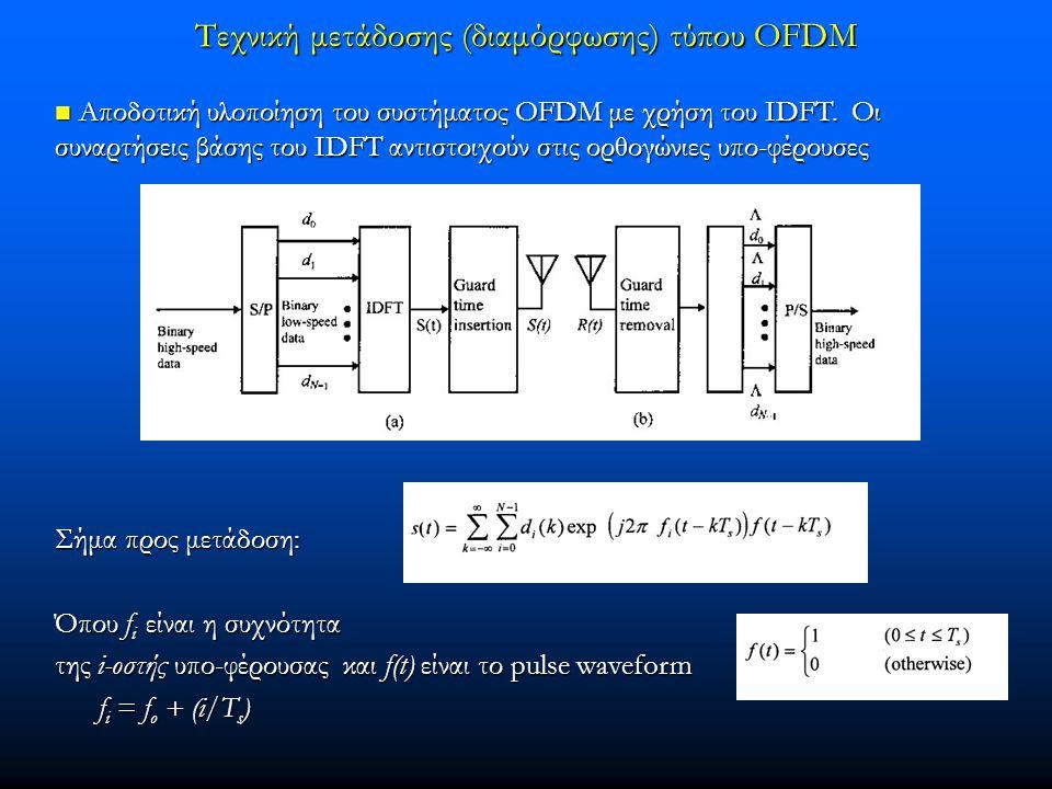 Τεχνική μετάδοσης (διαμόρφωσης) τύπου OFDM  Αποδοτική υλοποίηση του συστήματος OFDM με χρήση του ΙDFT. Οι συναρτήσεις βάσης του ΙDFT αντιστοιχούν στι
