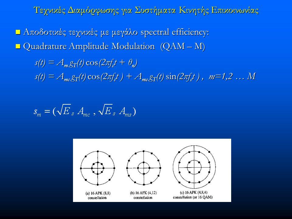 Τεχνικές Διαμόρφωσης για Συστήματα Κινητής Επικοινωνίας  Αποδοτικές τεχνικές με μεγάλο spectral efficiency:  Quadrature Amplitude Modulation (QAM – M) s(t) = A m g T (t) cos(2πf c t + θ n ) s(t) = A m g T (t) cos(2πf c t + θ n ) s(t) = A mc g T (t) cos(2πf c t ) + A ms g T (t) sin(2πf c t ), m=1,2 … M s(t) = A mc g T (t) cos(2πf c t ) + A ms g T (t) sin(2πf c t ), m=1,2 … M