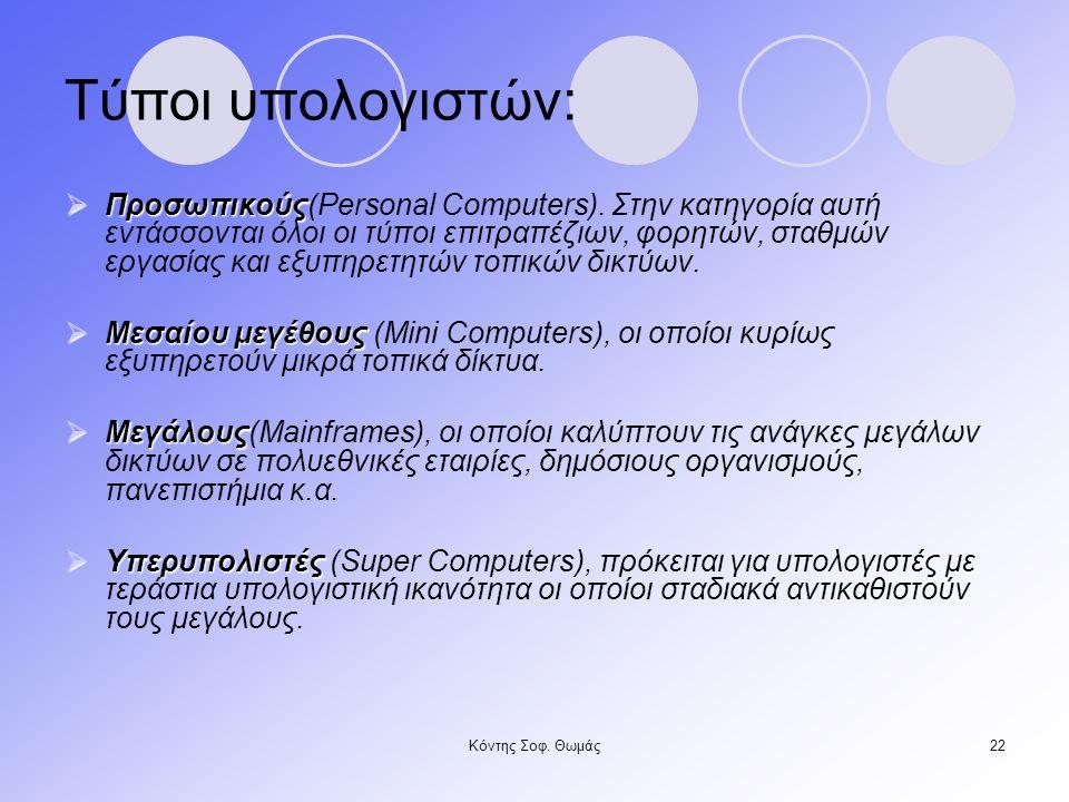Κόντης Σοφ.Θωμάς22 Τύποι υπολογιστών:  Προσωπικούς  Προσωπικούς(Personal Computers).
