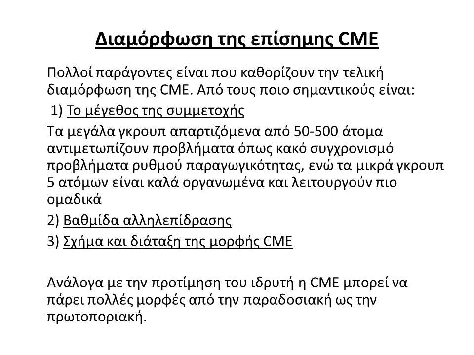 Διαμόρφωση της επίσημης CME Πολλοί παράγοντες είναι που καθορίζουν την τελική διαμόρφωση της CME. Από τους ποιο σημαντικούς είναι: 1) Το μέγεθος της σ