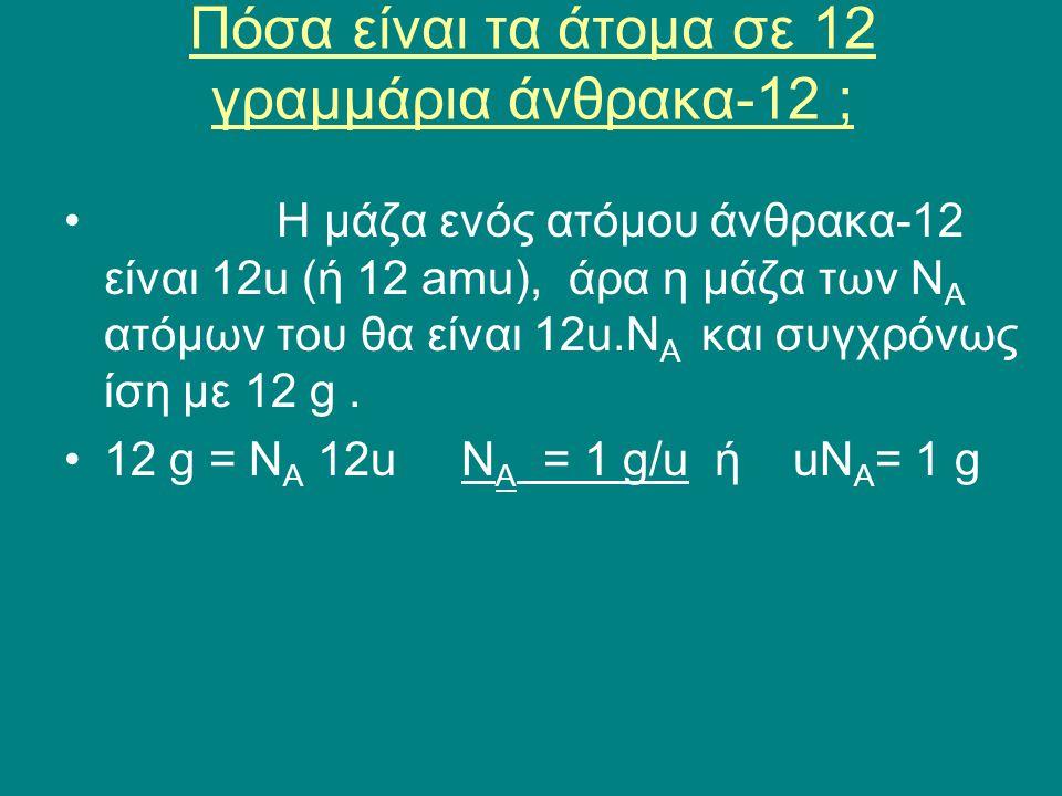 Πόσα είναι τα άτομα σε 12 γραμμάρια άνθρακα-12 ; •Η μάζα ενός ατόμου άνθρακα-12 είναι 12u (ή 12 amu), άρα η μάζα των Ν Α ατόμων του θα είναι 12u.Ν Α κ