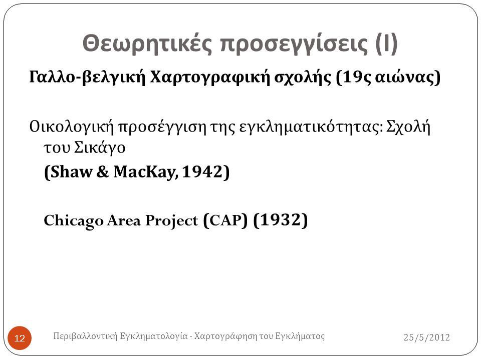 Θεωρητικές προσεγγίσεις ( Ι ) Γαλλο - βελγική Χαρτογραφική σχολής (19 ς αιώνας ) Οικολογική προσέγγιση της εγκληματικότητας : Σχολή του Σικάγο (Shaw &