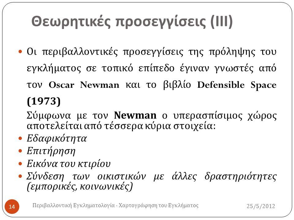 Θεωρητικές προσεγγίσεις ( ΙΙΙ )  Οι περιβαλλοντικές προσεγγίσεις της πρόληψης του εγκλήματος σε τοπικό επίπεδο έγιναν γνωστές από τον Oscar Newman κα