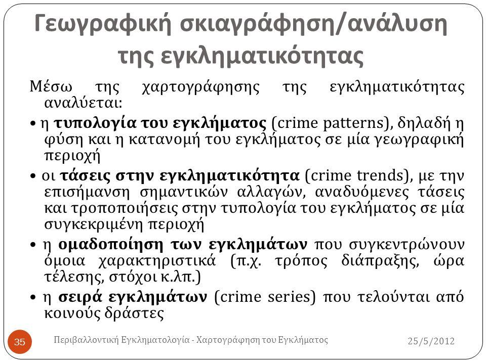 Γεωγραφική σκιαγράφηση / ανάλυση της εγκληματικότητας 25/5/2012 Περιβαλλοντική Εγκληματολογία - Χαρτογράφηση του Εγκλήματος 35 Μέσω της χαρτογράφησης