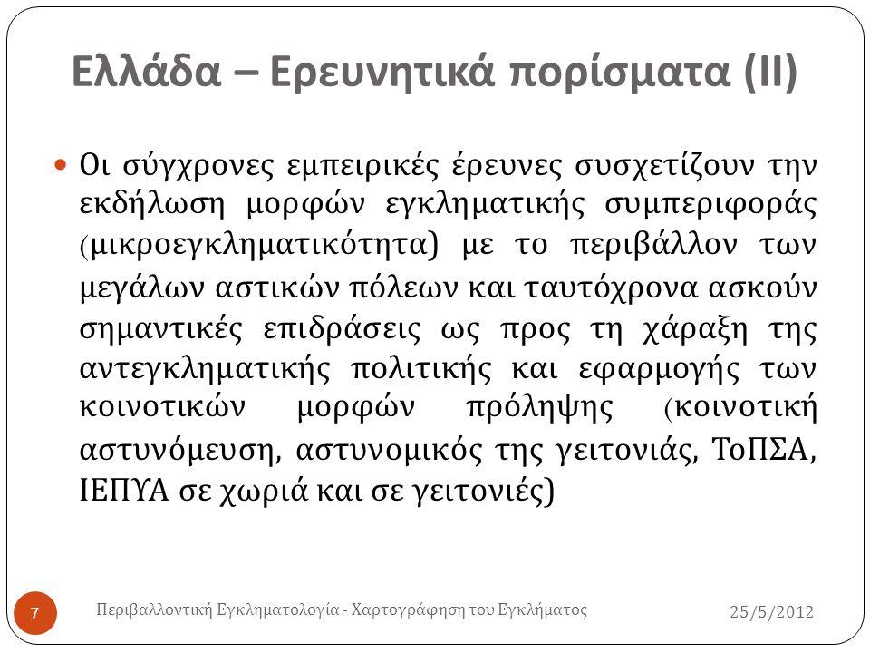 Ελλάδα – Ερευνητικά πορίσματα ( ΙΙ )  Οι σύγχρονες εμπειρικές έρευνες συσχετίζουν την εκδήλωση μορφών εγκληματικής συμπεριφοράς ( μικροεγκληματικότητ