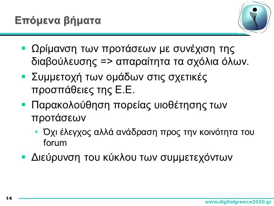 14 www.digitalgreece2020.gr Επόμενα βήματα  Ωρίμανση των προτάσεων με συνέχιση της διαβούλευσης => απαραίτητα τα σχόλια όλων.  Συμμετοχή των ομάδων