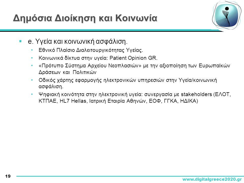19 www.digitalgreece2020.gr  e. Υγεία και κοινωνική ασφάλιση. •Εθνικό Πλαίσιο Διαλειτουργικότητας Υγείας. •Κοινωνικά δίκτυα στην υγεία: Patient Opini