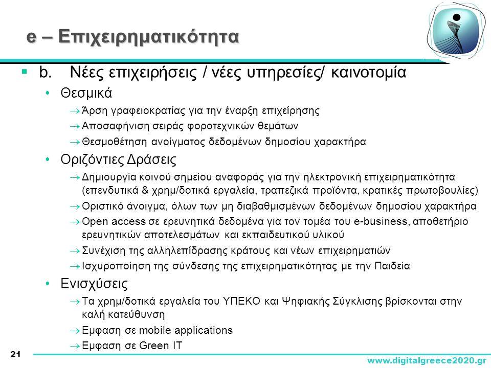 21 www.digitalgreece2020.gr e – Επιχειρηματικότητα  b.Νέες επιχειρήσεις / νέες υπηρεσίες/ καινοτομία •Θεσμικά  Άρση γραφειοκρατίας για την έναρξη επ