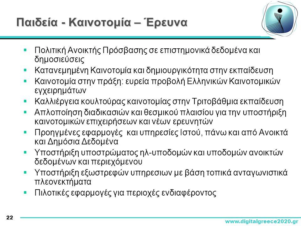 22 www.digitalgreece2020.gr Παιδεία - Καινοτομία – Έρευνα  Πολιτική Ανοικτής Πρόσβασης σε επιστημονικά δεδομένα και δημοσιεύσεις  Κατανεμημένη Καινο