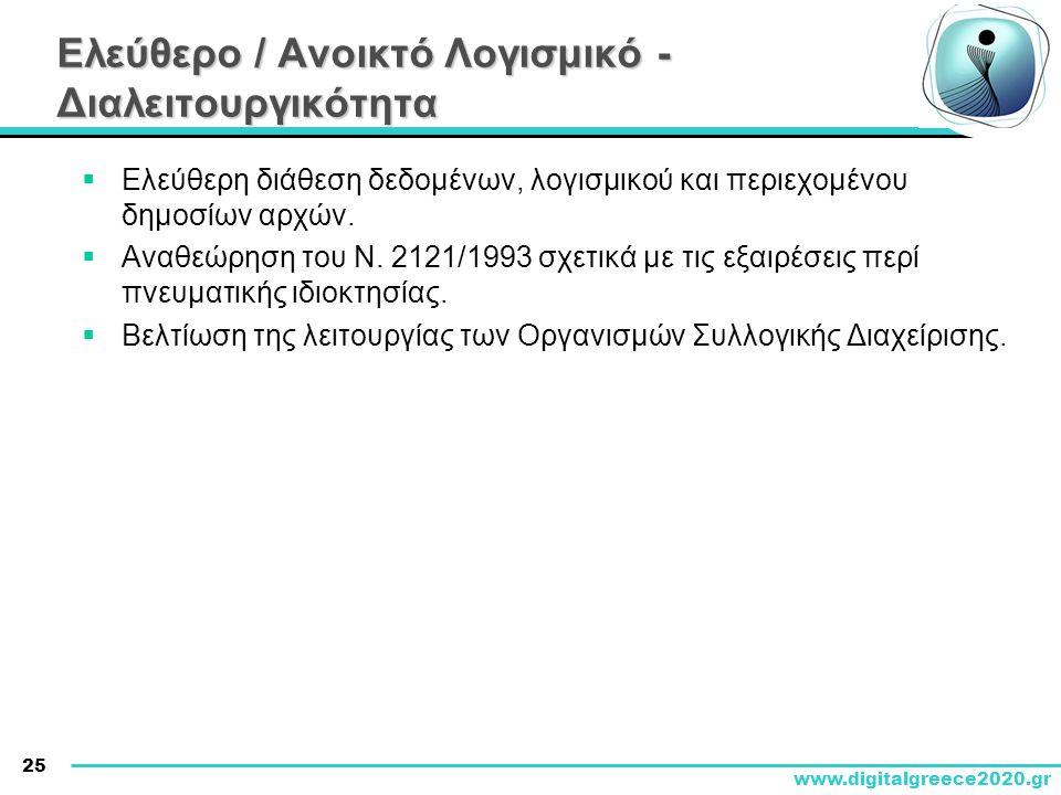 25 www.digitalgreece2020.gr Ελεύθερο / Ανοικτό Λογισμικό - Διαλειτουργικότητα  Ελεύθερη διάθεση δεδομένων, λογισμικού και περιεχομένου δημοσίων αρχών