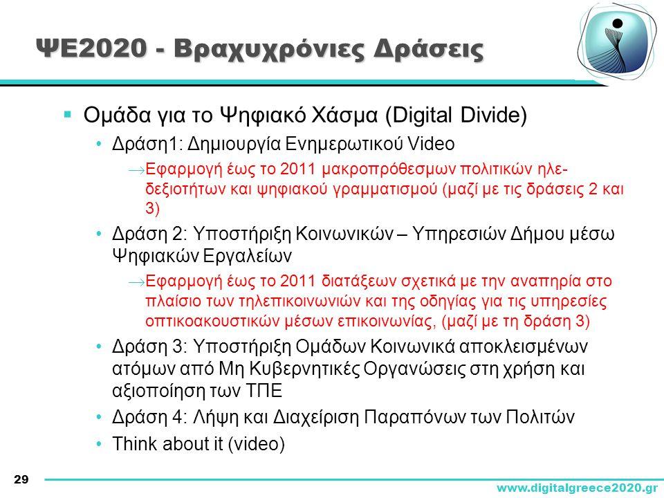 29 www.digitalgreece2020.gr ΨΕ2020 - Βραχυχρόνιες Δράσεις  Ομάδα για το Ψηφιακό Χάσμα (Digital Divide) •Δράση1: Δημιουργία Ενημερωτικού Video  Εφαρμ