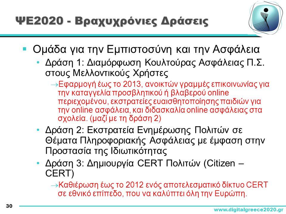 30 www.digitalgreece2020.gr ΨΕ2020 - Βραχυχρόνιες Δράσεις  Ομάδα για την Εμπιστοσύνη και την Ασφάλεια •Δράση 1: Διαμόρφωση Κουλτούρας Ασφάλειας Π.Σ.