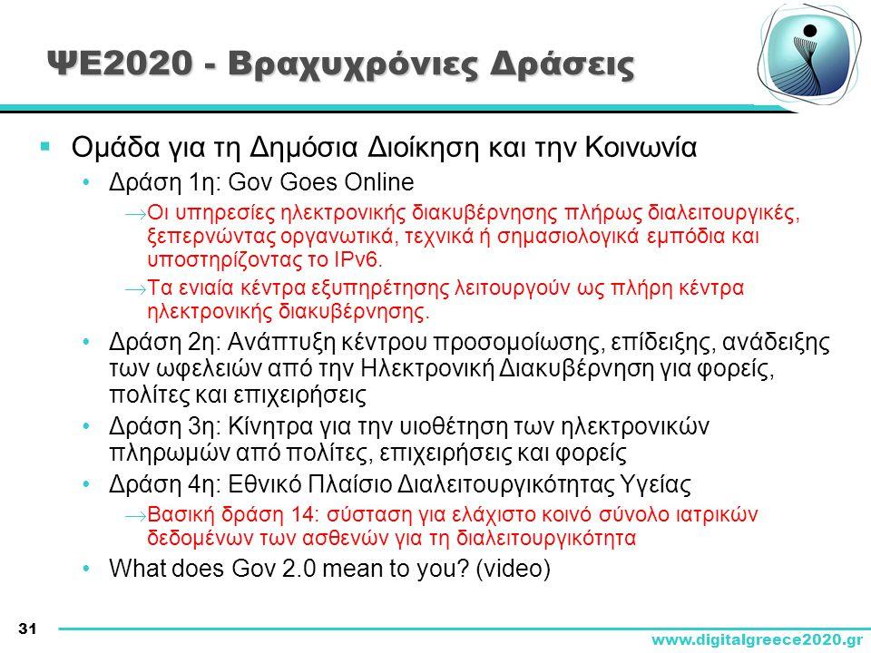 31 www.digitalgreece2020.gr ΨΕ2020 - Βραχυχρόνιες Δράσεις  Ομάδα για τη Δημόσια Διοίκηση και την Κοινωνία •Δράση 1η: Gov Goes Online  Οι υπηρεσίες η