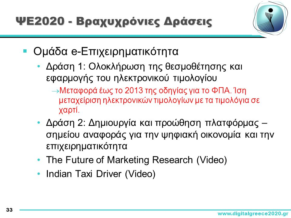 33 www.digitalgreece2020.gr ΨΕ2020 - Βραχυχρόνιες Δράσεις  Ομάδα e-Επιχειρηματικότητα •Δράση 1: Ολοκλήρωση της θεσμοθέτησης και εφαρμογής του ηλεκτρο