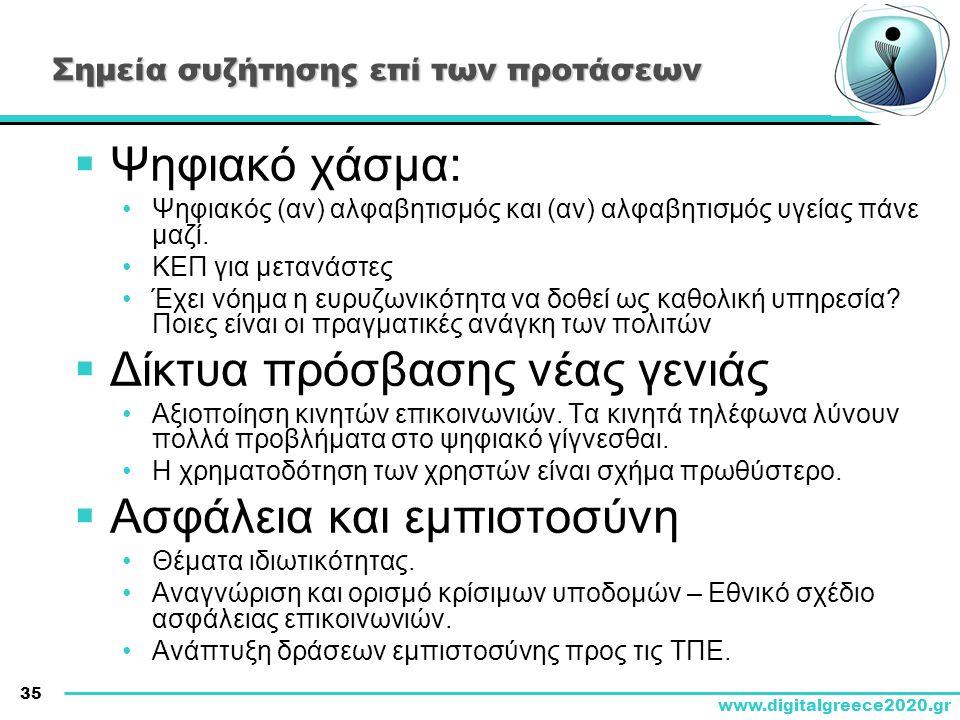 35 www.digitalgreece2020.gr Σημεία συζήτησης επί των προτάσεων  Ψηφιακό χάσμα: •Ψηφιακός (αν) αλφαβητισμός και (αν) αλφαβητισμός υγείας πάνε μαζί. •Κ