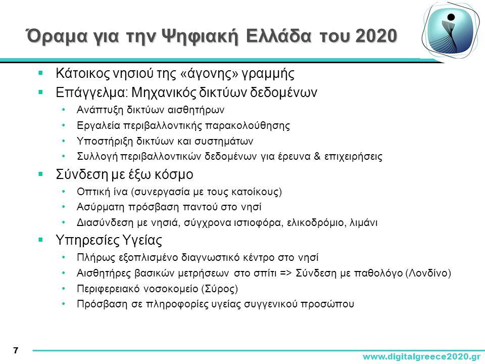 7 www.digitalgreece2020.gr Όραμα για την Ψηφιακή Ελλάδα του 2020  Κάτοικος νησιού της «άγονης» γραμμής  Επάγγελμα: Μηχανικός δικτύων δεδομένων •Ανάπ
