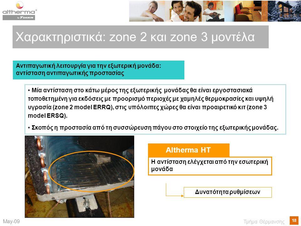 18 Μay-09 Τμήμα Θέρμανσης Χαρακτηριστικά : zone 2 και zone 3 μοντέλα Αντιπαγωτική λειτουργία για την εξωτερική μονάδα: αντίσταση αντιπαγωτικής προστασίας • Μία αντίσταση στο κάτω μέρος της εξωτερικής μονάδας θα είναι εργοστασιακά τοποθετημένη για εκδόσεις με προορισμό περιοχές με χαμηλές θερμοκρασίες και υψηλή υγρασία (zone 2 model ERRQ), στις υπόλοιπες χώρες θα είναι προαιρετικό κιτ (zone 3 model ERSQ).