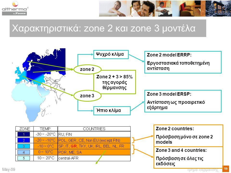 19 Μay-09 Τμήμα Θέρμανσης Χαρακτηριστικά : zone 2 και zone 3 μοντέλα Zone 2 + 3 > 85% της αγοράς θέρμανσης zone 3 zone 2 Ήπιο κλίμα Ψυχρό κλίμα Zone 2 model ERRP: Εργοστασιακά τοποθετημένη αντίσταση Zone 3 model ERSP: Αντίσταση ως προαιρετικό εξάρτημα Zone 2 countries: Πρόσβαση μόνο σε zone 2 models Zone 3 and 4 countries: Πρόσβαση σε όλες τις εκδόσεις