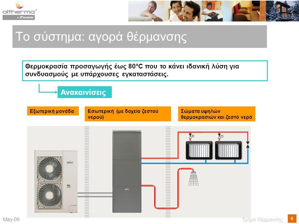 6 Μay-09 Τμήμα Θέρμανσης Το σύστημα: αγορά θέρμανσης Εξωτερική μονάδαΕσωτερική (με δοχείο ζεστού νερού) Σώματα υψηλών θερμοκρασιών και ζεστό νερό Θερμοκρασία προσαγωγής έως 80°C που το κάνει ιδανική λύση για συνδυασμούς με υπάρχουσες εγκαταστάσεις.
