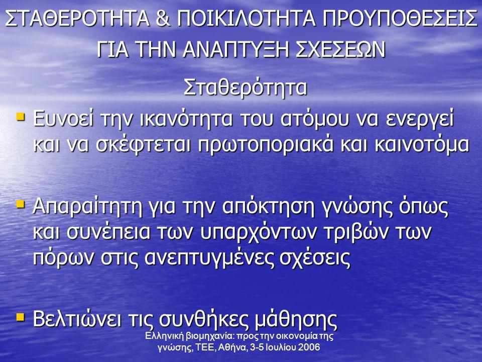 Ελληνική βιομηχανία: προς την οικονομία της γνώσης, ΤΕΕ, Αθήνα, 3-5 Ιουλίου 2006 ΣΤΑΘΕΡΟΤΗΤΑ & ΠΟΙΚΙΛΟΤΗΤΑ ΠΡΟΥΠΟΘΕΣΕΙΣ ΓΙΑ ΤΗΝ ΑΝΑΠΤΥΞΗ ΣΧΕΣΕΩΝ Σταθερότητα  Ευνοεί την ικανότητα του ατόμου να ενεργεί και να σκέφτεται πρωτοποριακά και καινοτόμα  Απαραίτητη για την απόκτηση γνώσης όπως και συνέπεια των υπαρχόντων τριβών των πόρων στις ανεπτυγμένες σχέσεις  Βελτιώνει τις συνθήκες μάθησης