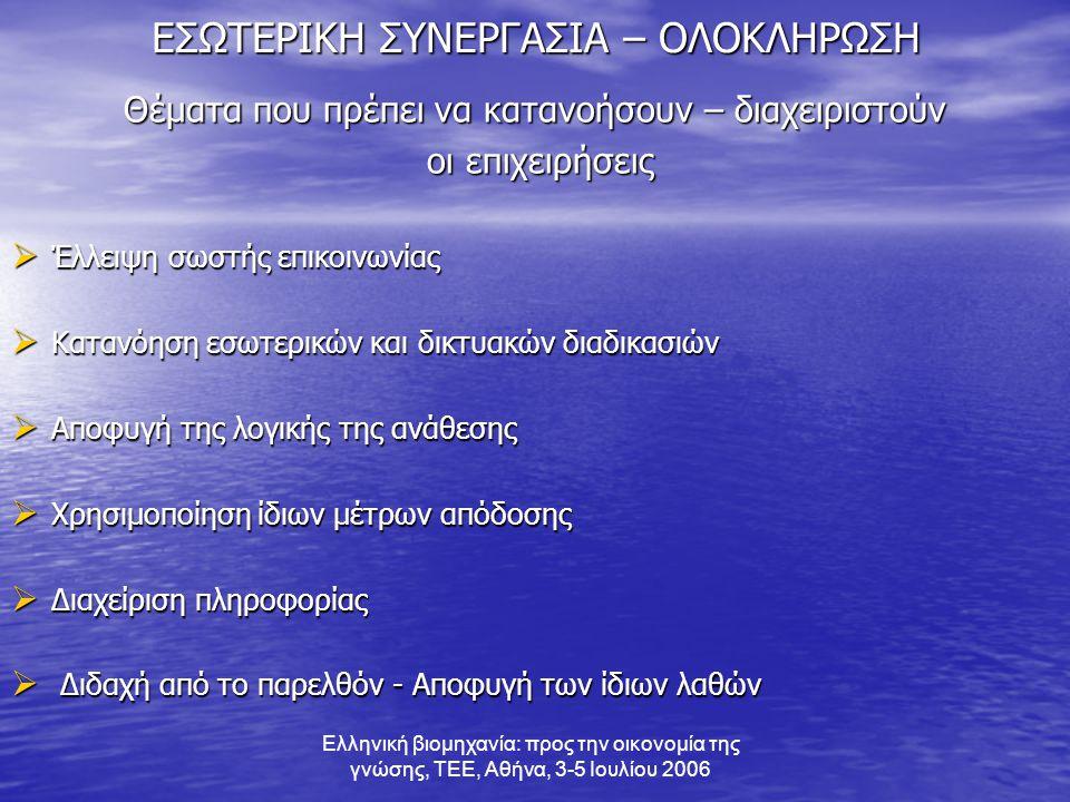 Ελληνική βιομηχανία: προς την οικονομία της γνώσης, ΤΕΕ, Αθήνα, 3-5 Ιουλίου 2006 ΕΣΩΤΕΡΙΚΗ ΣΥΝΕΡΓΑΣΙΑ – ΟΛΟΚΛΗΡΩΣΗ Θέματα που πρέπει να κατανοήσουν – διαχειριστούν οι επιχειρήσεις οι επιχειρήσεις  Έλλειψη σωστής επικοινωνίας  Κατανόηση εσωτερικών και δικτυακών διαδικασιών  Αποφυγή της λογικής της ανάθεσης  Χρησιμοποίηση ίδιων μέτρων απόδοσης  Διαχείριση πληροφορίας  Διδαχή από το παρελθόν - Αποφυγή των ίδιων λαθών