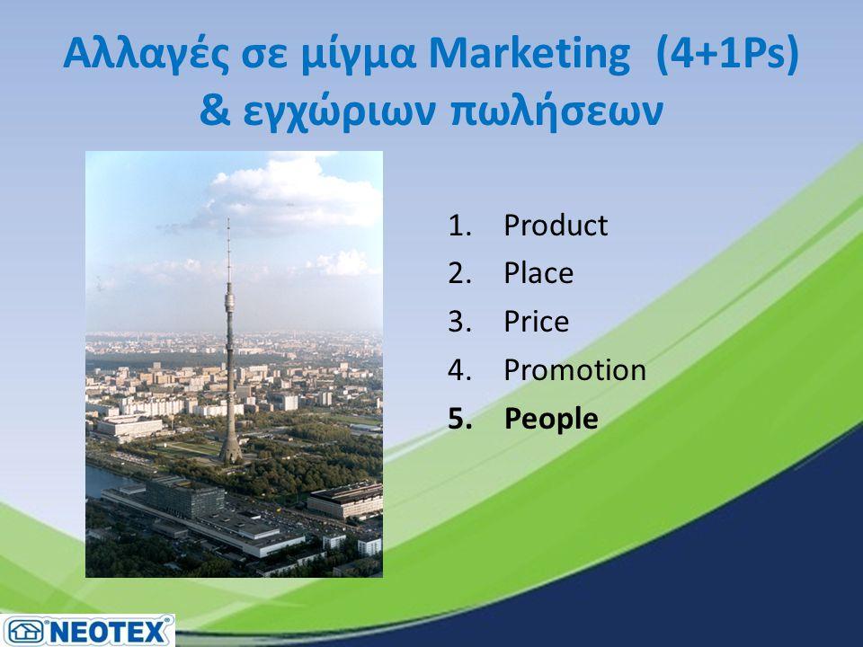 Αλλαγές σε μίγμα Marketing (4+1Ps) & εγχώριων πωλήσεων 1. Product 2. Place 3. Price 4. Promotion 5. People