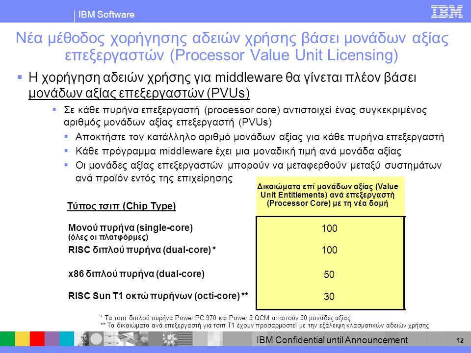 IBM Software IBM Confidential until Announcement 12 Νέα μέθοδος χορήγησης αδειών χρήσης βάσει μονάδων αξίας επεξεργαστών (Processor Value Unit Licensing)  Η χορήγηση αδειών χρήσης για middleware θα γίνεται πλέον βάσει μονάδων αξίας επεξεργαστών (PVUs)  Σε κάθε πυρήνα επεξεργαστή (processor core) αντιστοιχεί ένας συγκεκριμένος αριθμός μονάδων αξίας επεξεργαστή (PVUs)  Αποκτήστε τον κατάλληλο αριθμό μονάδων αξίας για κάθε πυρήνα επεξεργαστή  Κάθε πρόγραμμα middleware έχει μια μοναδική τιμή ανά μονάδα αξίας  Οι μονάδες αξίας επεξεργαστών μπορούν να μεταφερθούν μεταξύ συστημάτων ανά προϊόν εντός της επιχείρησης * Τα τσιπ διπλού πυρήνα Power PC 970 και Power 5 QCM απαιτούν 50 μονάδες αξίας ** Τα δικαιώματα ανά επεξεργαστή για τσιπ T1 έχουν προσαρμοστεί με την εξάλειψη κλασματικών αδειών χρήσης Δικαιώματα επί μονάδων αξίας (Value Unit Entitlements) ανά επεξεργαστή (Processor Core) με τη νέα δομή Τύπος τσιπ (Chip Type) Μονού πυρήνα (single-core) (όλες οι πλατφόρμες) 100 RISC διπλού πυρήνα (dual-core) * 100 x86 διπλού πυρήνα (dual-core) 50 RISC Sun T1 οκτώ πυρήνων (octi-core) ** 30
