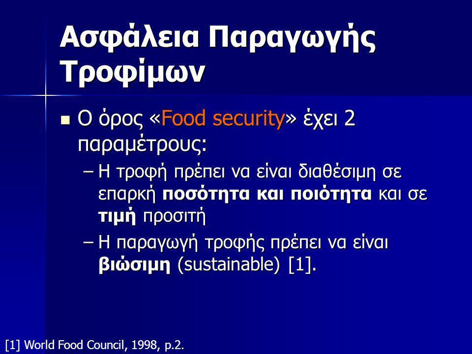 Ασφάλεια Παραγωγής Τροφίμων  Ο όρος «Food security» έχει 2 παραμέτρους: –Η τροφή πρέπει να είναι διαθέσιμη σε επαρκή ποσότητα και ποιότητα και σε τιμή προσιτή –Η παραγωγή τροφής πρέπει να είναι βιώσιμη (sustainable) [1].