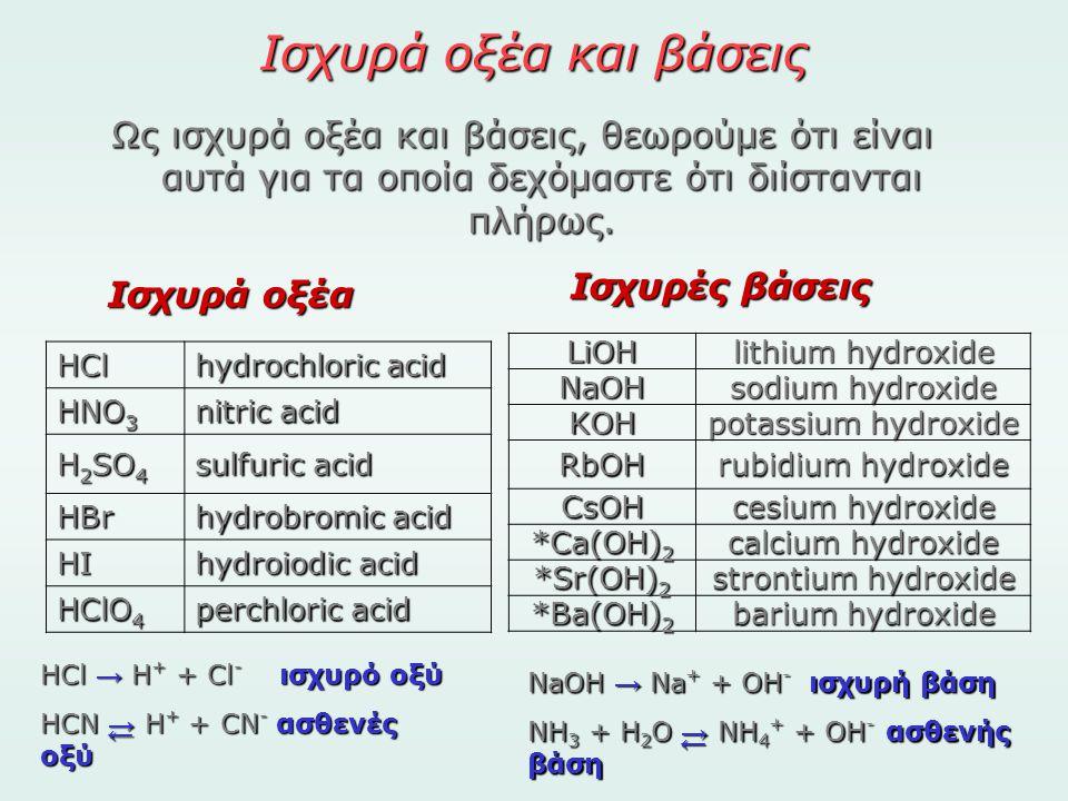 Ισχυρά οξέα και βάσεις Ως ισχυρά οξέα και βάσεις, θεωρούμε ότι είναι αυτά για τα οποία δεχόμαστε ότι διίστανται πλήρως. HCl hydrochloric acid HNO 3 ni