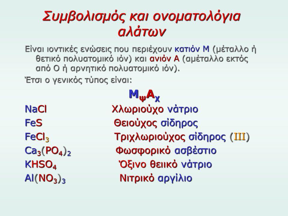 Συμβολισμός και ονοματολόγια αλάτων Είναι ιοντικές ενώσεις που περιέχουν κατιόν Μ (μέταλλο ή θετικό πολυατομικό ιόν) και ανιόν Α (αμέταλλο εκτός από Ο