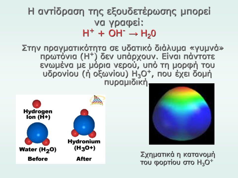 Η αντίδραση της εξουδετέρωσης μπορεί να γραφεί: Η + + ΟΗ - → Η 2 0 Στην πραγματικότητα σε υδατικό διάλυμα «γυμνά» πρωτόνια (Η + ) δεν υπάρχουν. Είναι