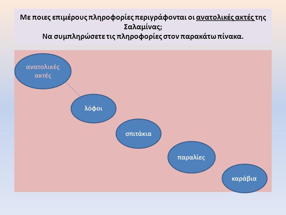 Με ποιες επιμέρους πληροφορίες περιγράφονται οι ανατολικές ακτές της Σαλαμίνας; Να συμπληρώσετε τις πληροφορίες στον παρακάτω πίνακα. ανατολικές ακτές