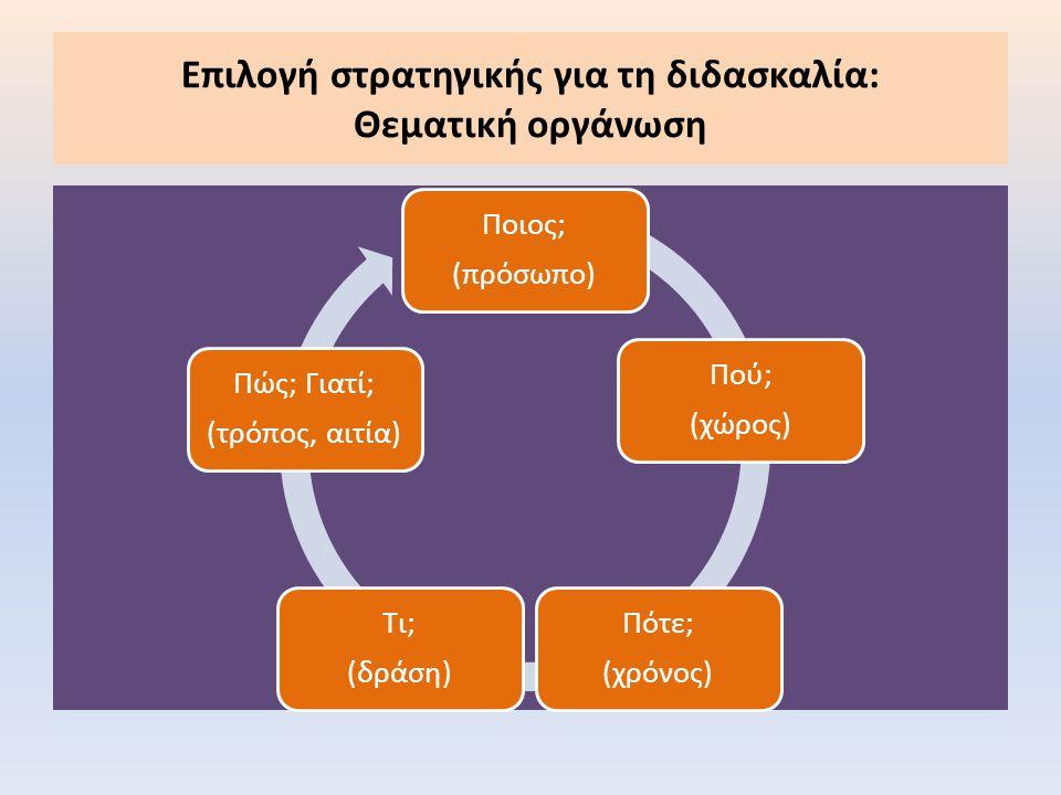Επιλογή στρατηγικής για τη διδασκαλία: Θεματική οργάνωση Ποιος; (πρόσωπο) Πού; (χώρος) Πότε; (χρόνος) Τι; (δράση) Πώς; Γιατί; (τρόπος, αιτία)