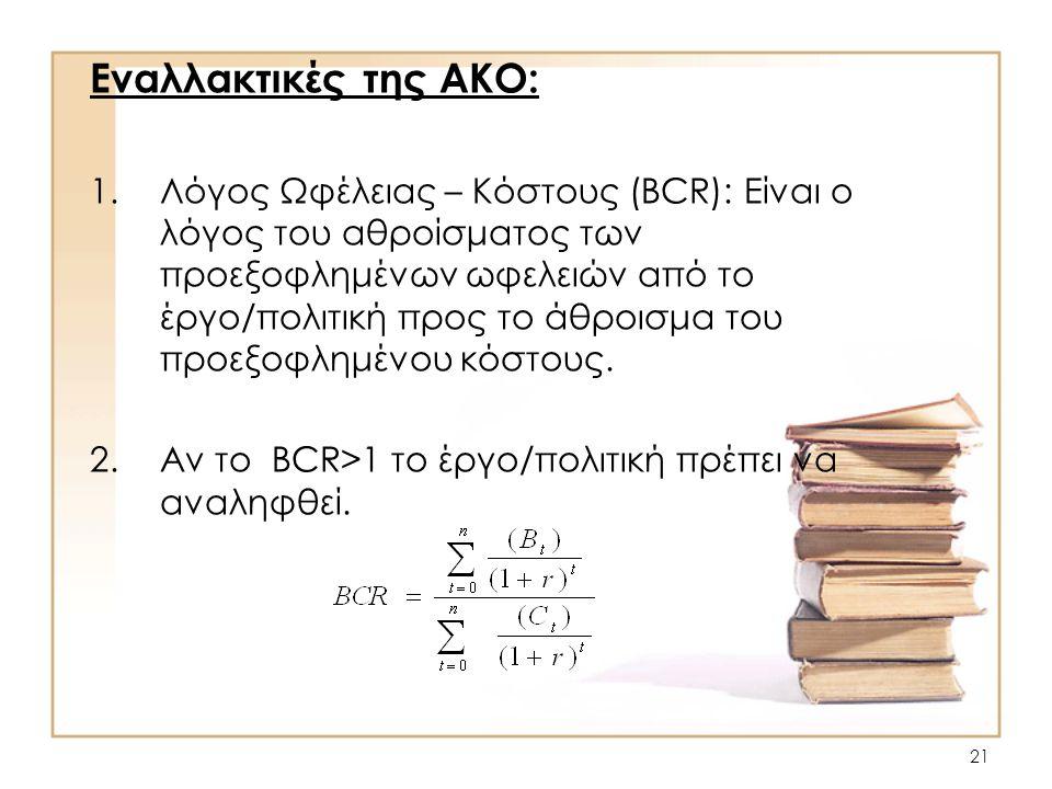 21 Εναλλακτικές της AΚO: 1.Λόγος Ωφέλειας – Κόστους (BCR): Είναι ο λόγος του αθροίσματος των προεξοφλημένων ωφελειών από το έργο/πολιτική προς το άθρο