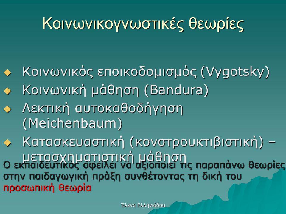 Έλενα Ελληνιάδου Γνωστικές Θεωρίες  Μορφολογική Ψυχολογία  Λογικομαθηματική μάθηση (Piaget)  Ανακαλυπτική μάθηση (Bruner)  Νοηματική – προσληπτική