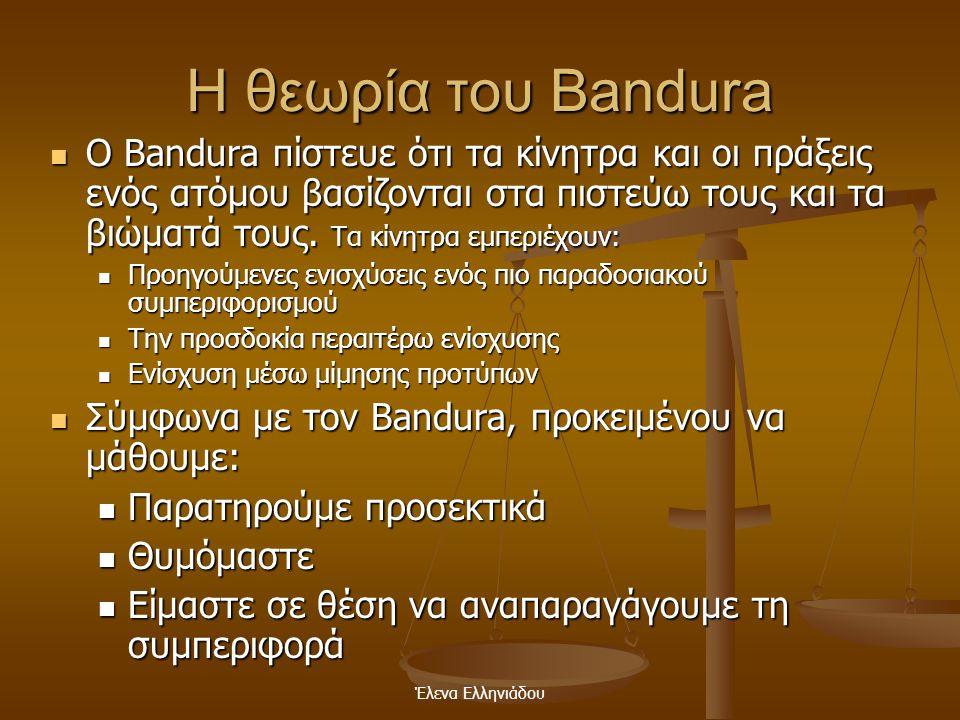 Έλενα Ελληνιάδου Η θεωρία του Bandura  Οι άνθρωποι έχουν ιδιαίτερες ικανότητες για μάθηση, οι οποίες τους διαφοροποιούν από τα άλλα είδη  Σύμφωνα με
