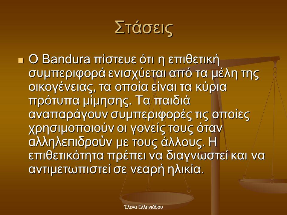 Έλενα Ελληνιάδου Στάσεις  Ο Bandura πίστευε ότι η ψυχολογική έρευνα πρέπει να διεξάγεται στο εργαστήριο έτσι ώστε να ελεγχτούν παράγοντες που επηρεάζ