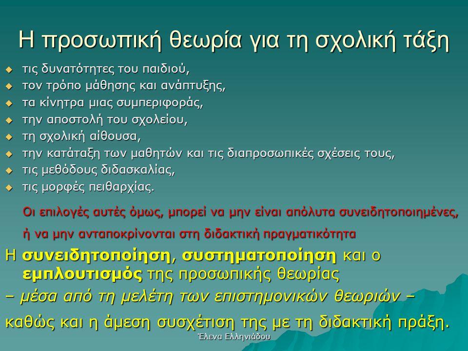 Έλενα Ελληνιάδου Προσωπική θεωρία  Όλοι έχουμε μία!  Από εμπειρίες, κοσμοθεωρία, σπουδές  Είναι οι γνώσεις, στάσεις, αξίες, εμπειρίες που επηρεάζου
