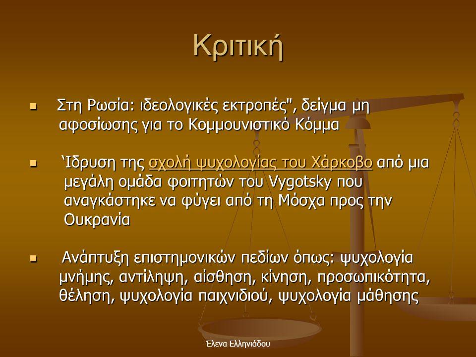 Έλενα Ελληνιάδου Το πλαίσιο στήριξης (scaffolding) Ο δάσκαλος παρέχει στο μαθητή: - πλούσιο μαθησιακό περιβάλλον βοηθώντας τον να αυτοαναπτυχθεί (Piag