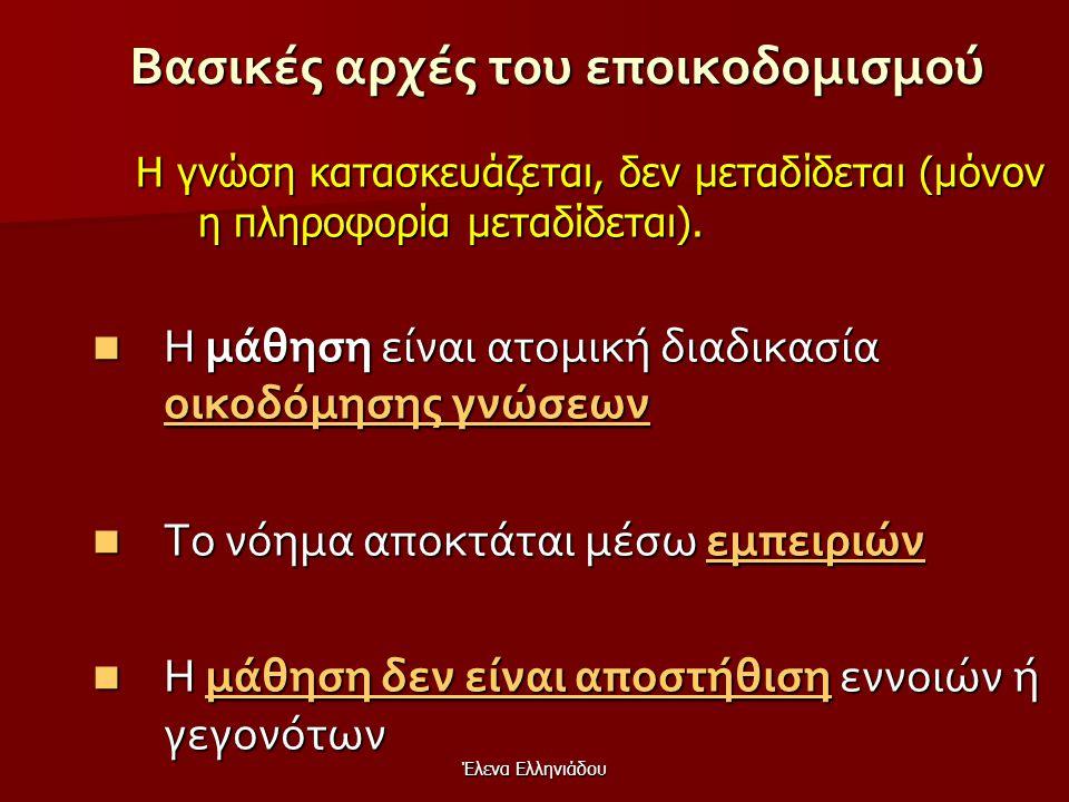 Έλενα Ελληνιάδου Εποικοδομισμός  Στόχος της Μάθηση ς : η τροποποίηση του προϋπαρχουσών γνώσεων  Στόχος της διδασκαλίας: η δημιουργία κατάλληλου και