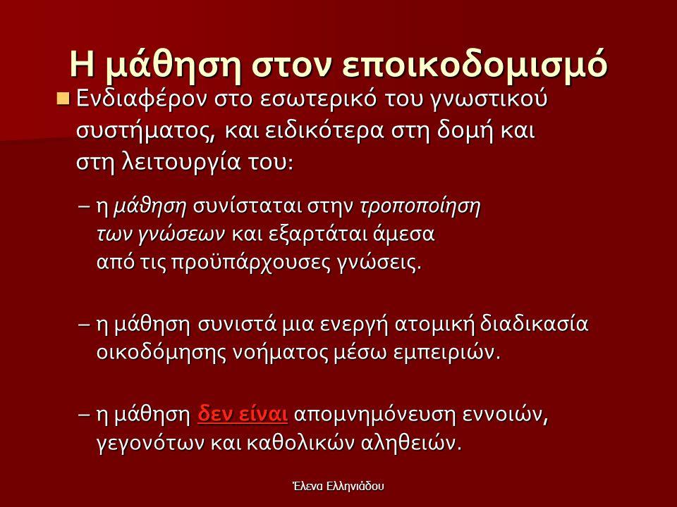 Έλενα Ελληνιάδου Βασικές αρχές του εποικοδομισμού Η γνώση κατασκευάζεται, δεν μεταδίδεται (μόνον η πληροφορία μεταδίδεται).  Η μάθηση είναι ατομική δ