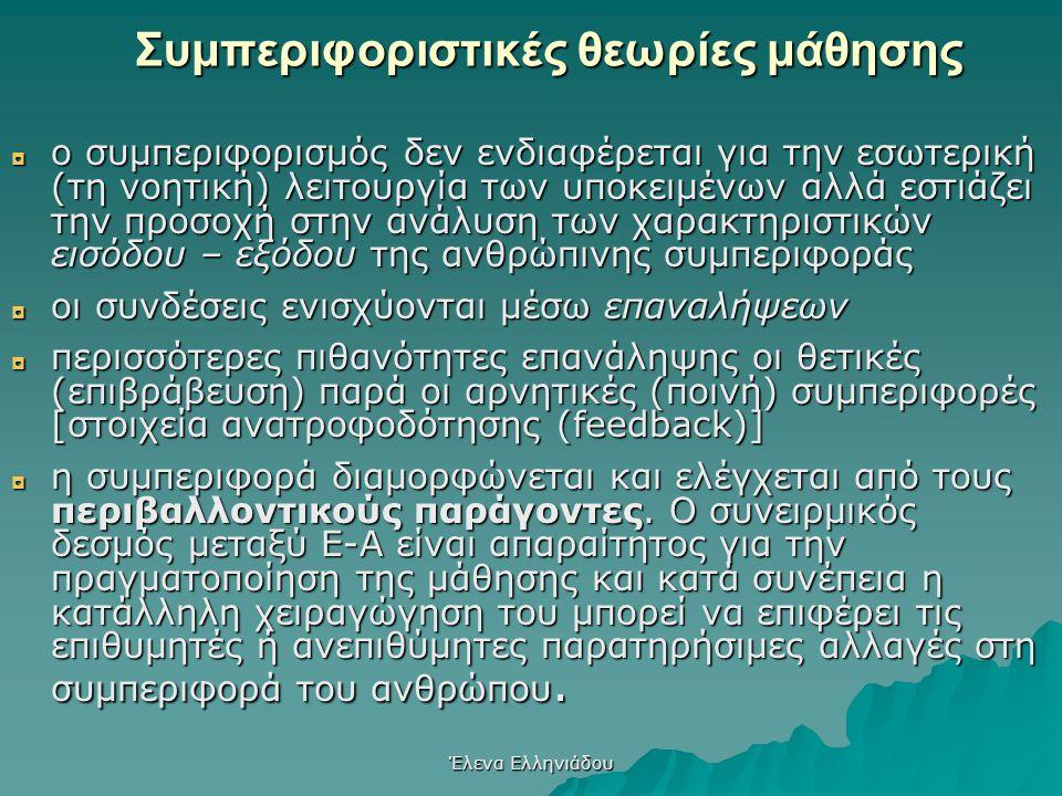 Έλενα Ελληνιάδου Για τους συμπεριφοριστές:  δεν υπάρχει δυνατότητα πρόσβασης στις νοητικές καταστάσεις των υποκειμένων  τα «πιστεύω» τους, οι προσδο