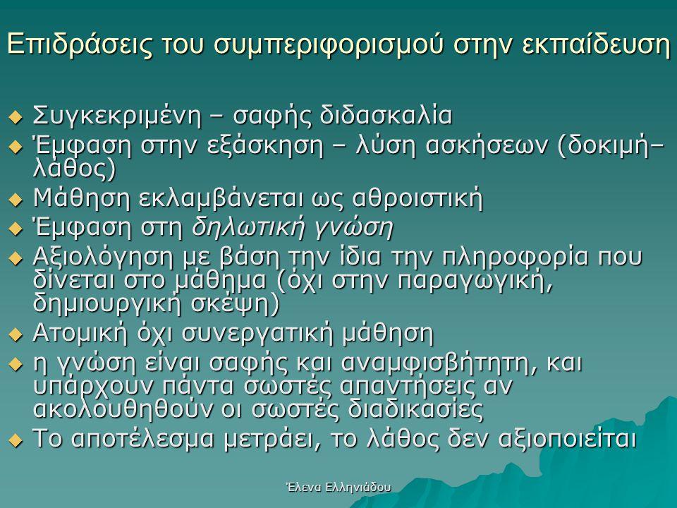 Έλενα Ελληνιάδου Η μάθηση μέσω της Διαμόρφωσης της Συμπεριφοράς Η διαμόρφωση της συμπεριφοράς μπορεί να χρησιμοποιηθεί για την μάθηση με υπολογιστές.