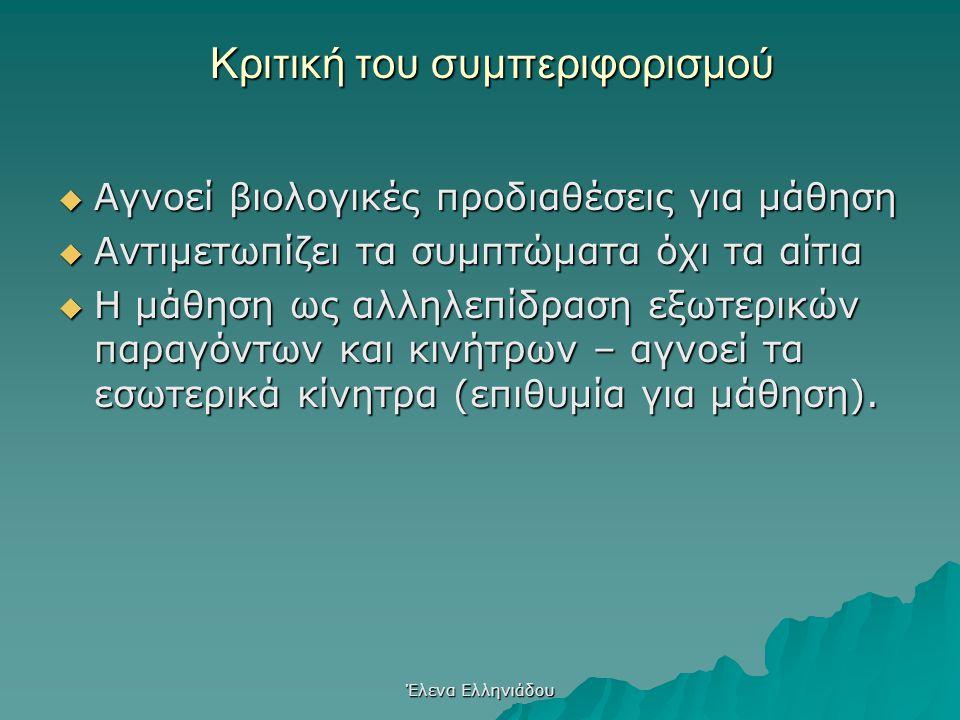 Έλενα Ελληνιάδου Επιδράσεις του συμπεριφορισμού στην εκπαίδευση  Συγκεκριμένη – σαφής διδασκαλία  Έμφαση στην εξάσκηση – λύση ασκήσεων (δοκιμή– λάθο