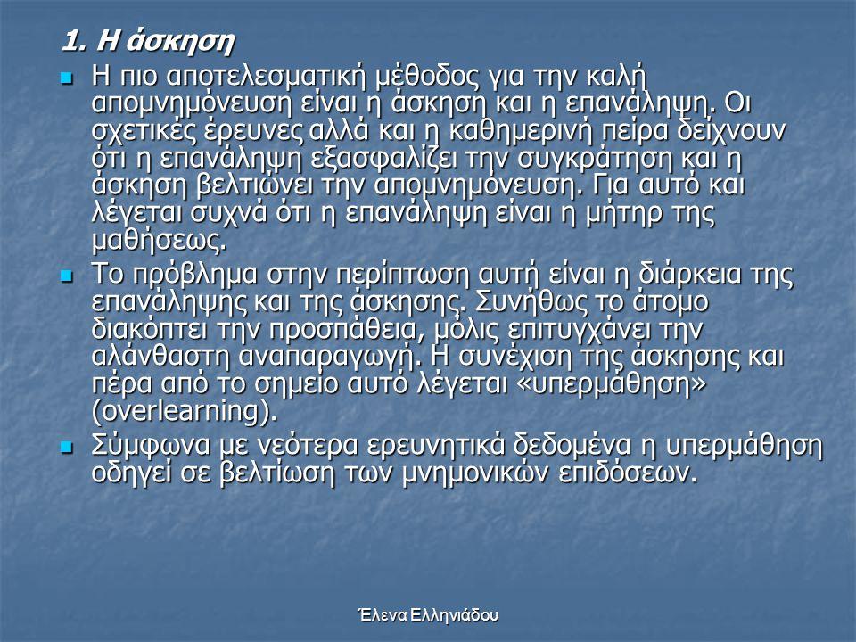 Έλενα Ελληνιάδου  Η ανθρώπινη μνήμη μοιάζει με μια βιβλιοθήκη, στην οποία η κωδικοποίηση γίνεται σύμφωνα με ορισμένες αρχές και κατ' αυτόν τον τρόπο