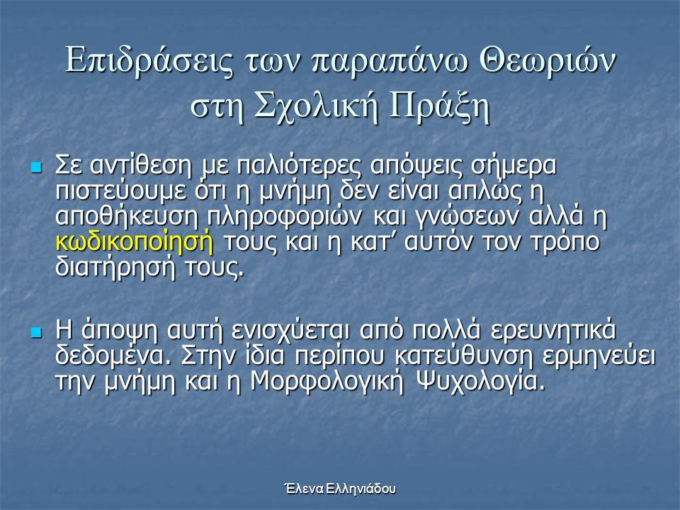Έλενα Ελληνιάδου Επιδράσεις των παραπάνω Θεωριών στη Σχολική Πράξη  Μάθηση λοιπόν, σύμφωνα με αυτές τις απόψεις, είναι η συσσώρευση, η οργάνωση και η