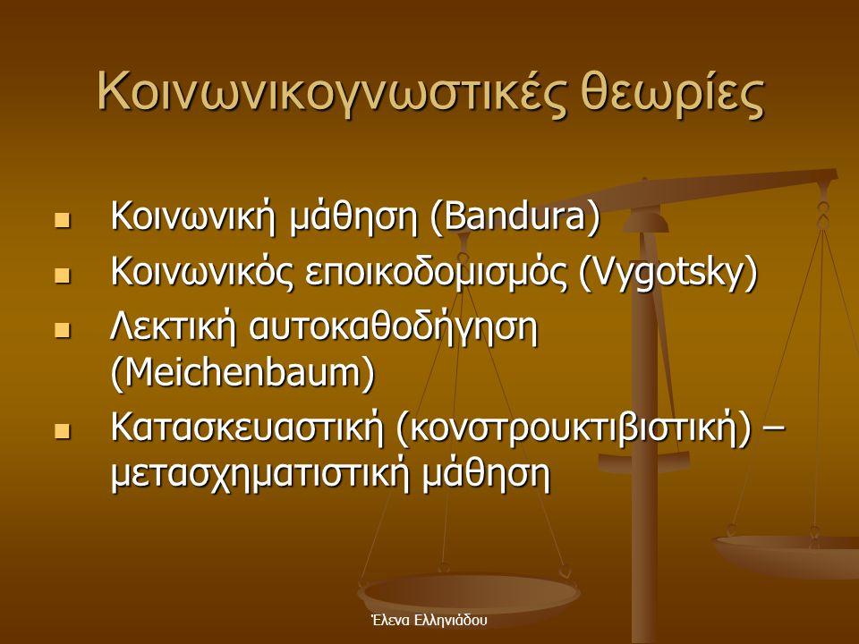 Έλενα Ελληνιάδου Επιδράσεις της θεωρίας Επεξεργασίας των Πληροφοριών  Οι συνέπειες των συνειρμικών- συμπεριφοριστικών θεωριών, των γνωστικών θεωριών