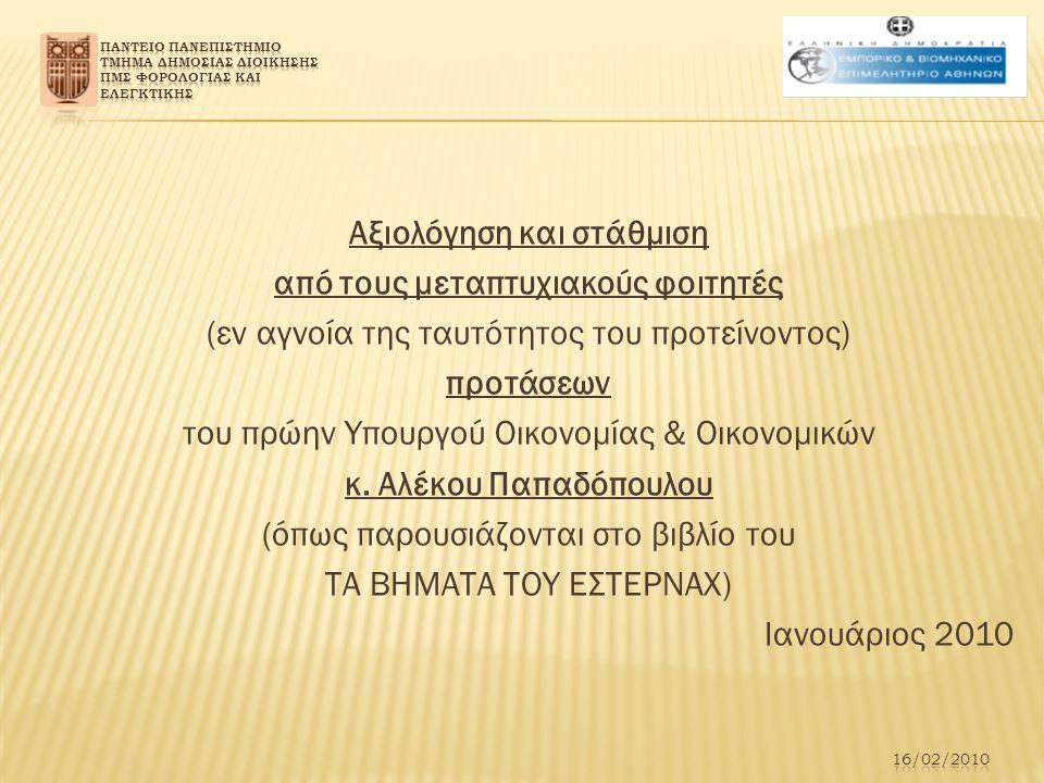Αξιολόγηση και στάθμιση από τους μεταπτυχιακούς φοιτητές (εν αγνοία της ταυτότητος του προτείνοντος) προτάσεων του πρώην Υπουργού Οικονομίας & Οικονομικών κ.