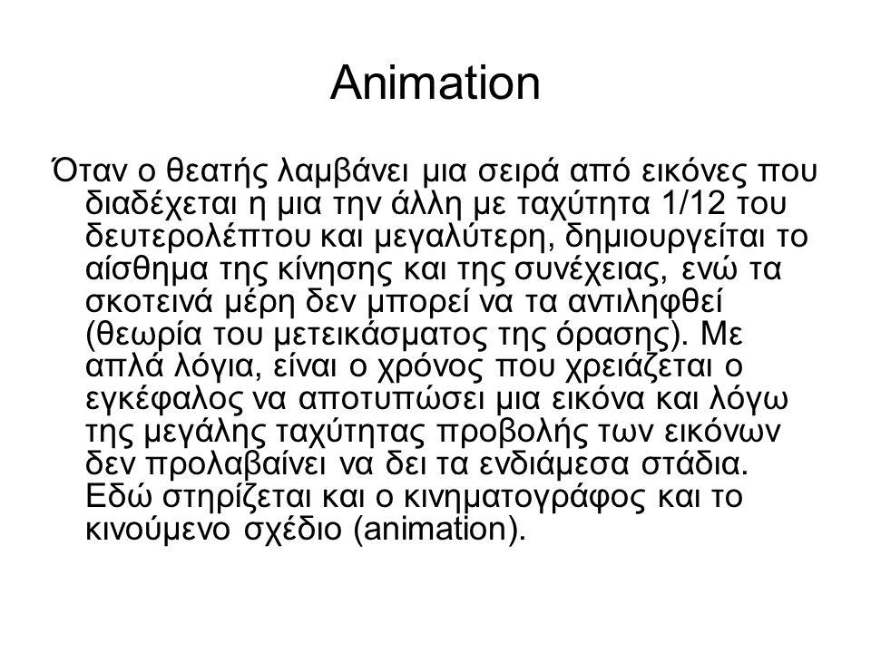 Animation Όταν ο θεατής λαμβάνει μια σειρά από εικόνες που διαδέχεται η μια την άλλη με ταχύτητα 1/12 του δευτερολέπτου και μεγαλύτερη, δημιουργείται